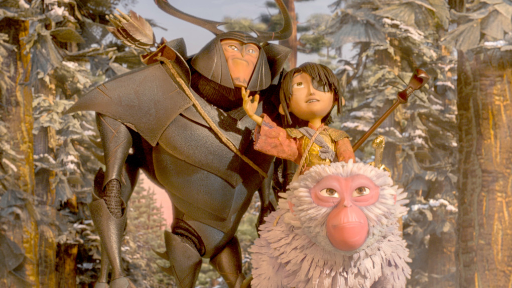 """(L-r.) Beetle, Kubo, and Monkey emerge from the Forest and take in the beauty of the landscape in """"Kubo and the Two Strings."""" MUST CREDIT: Laika Studios-Focus Features"""
