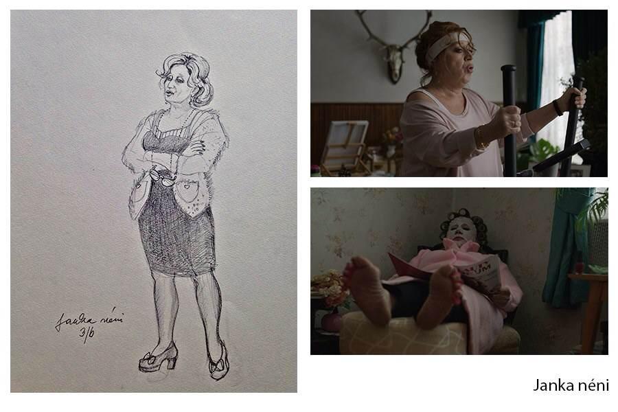 Zelenka Nóra jelmezterve az Utóélet című filmhez
