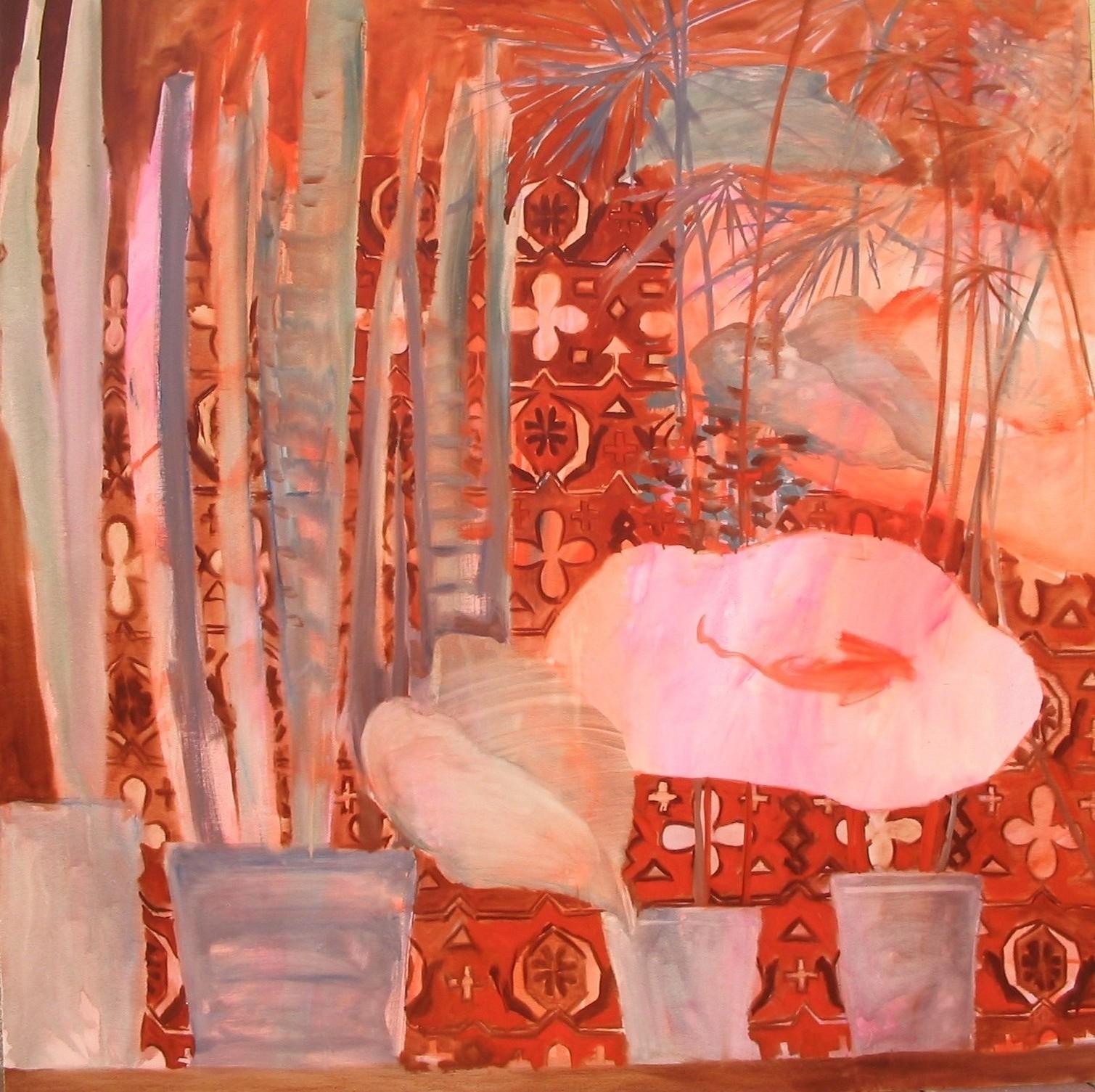 Kővári Attila - Anyósnyelv bécsifánkkal, olaj, vászon, 150×150 cm, 2005
