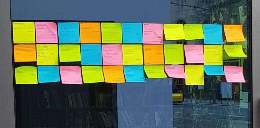 A CHB költészetnapi akciójának részlete (fotó: Collegium Hungaricum Berlin, Facebook)