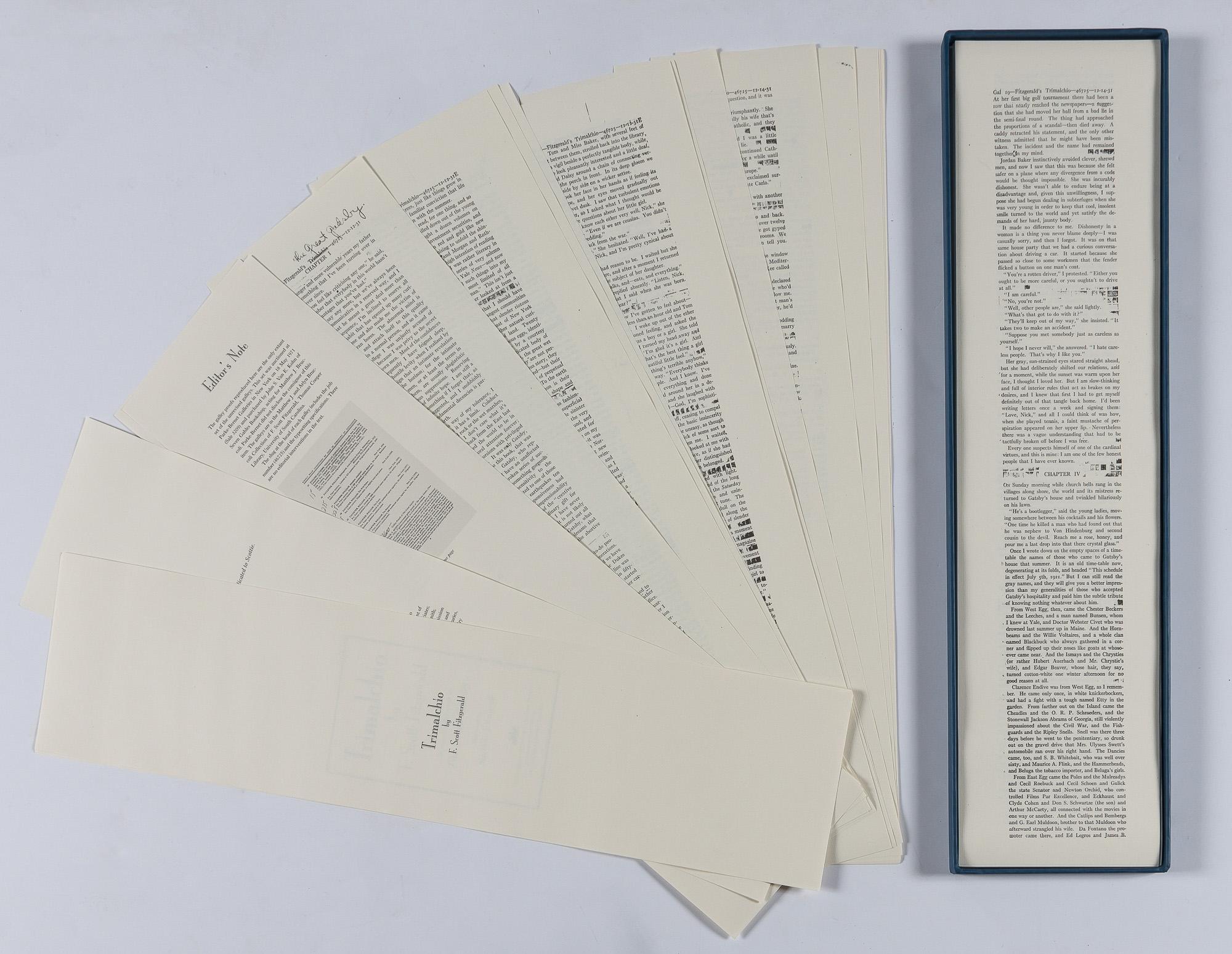 A Trimalchio megjelenés előtti szedését fakszimile kiadásokban árulják (forrás: Doyle)