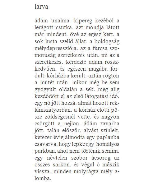 Mezei Gábor - lárva (vers)
