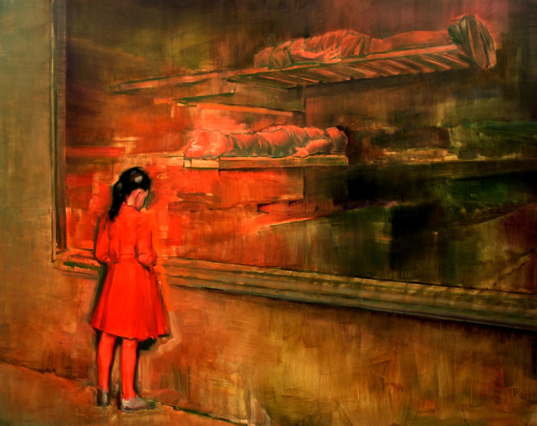 Szűcs Attila - Lány pirosban - 2012 - olaj, vászon
